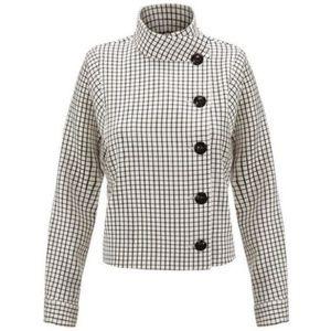 CAbi Windowpane Black White Asymmetric Jacket 3173